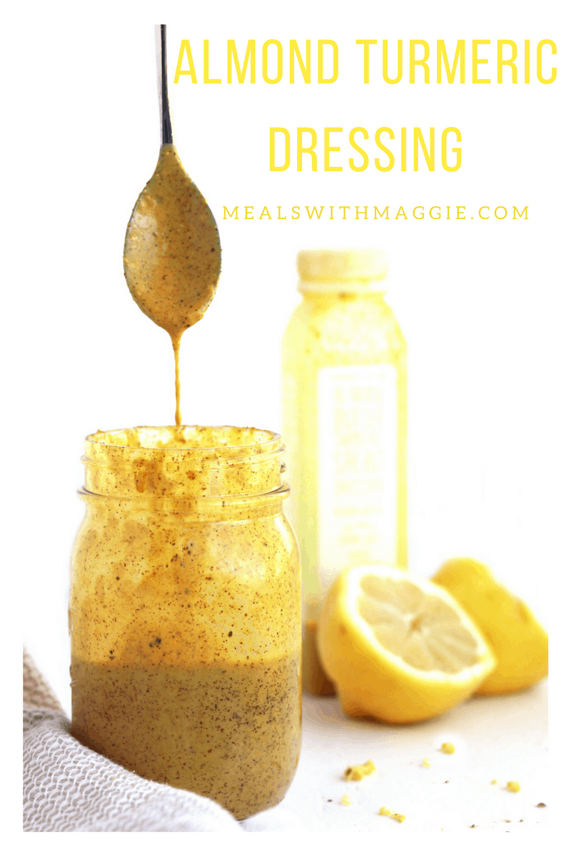 This is life changing almond turmeric dressing! It can be put in currys, soups, salads, stir-fry- just about anything! Make this a pantry staple |Mealswithmaggie.com