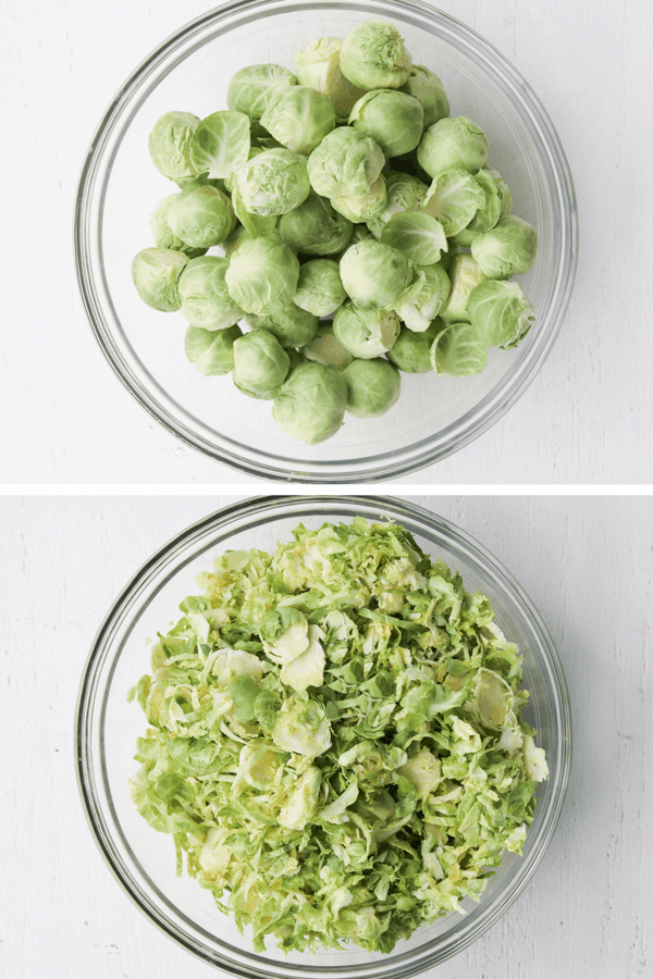Brussel sprouts in a bowl shredded.