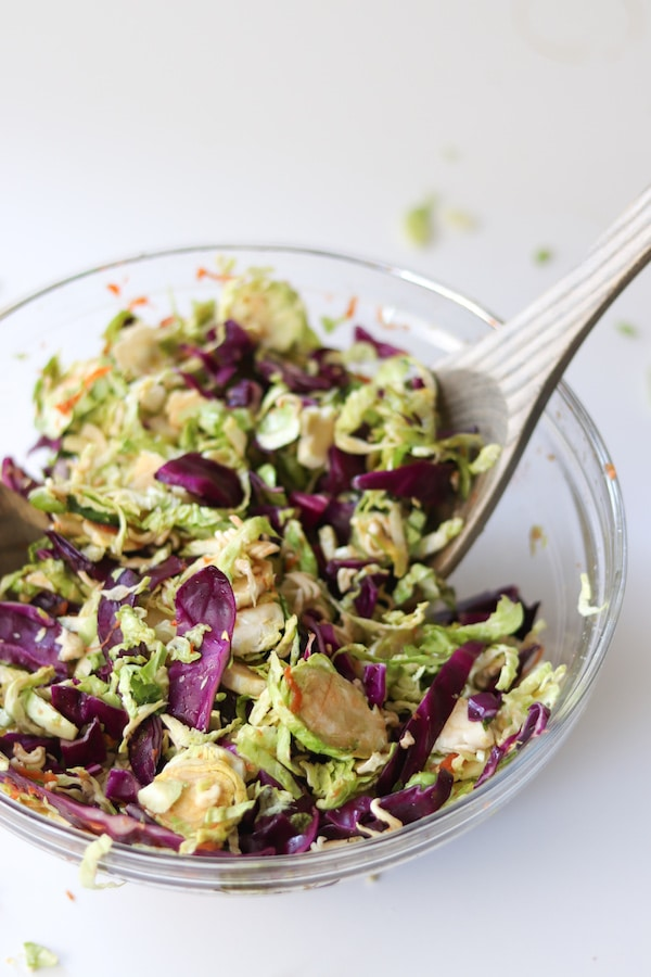 Try a lightened up version of a classic stir-fry dish with this an asian brussel sprout salad recipe.   Mealswithmaggie.com