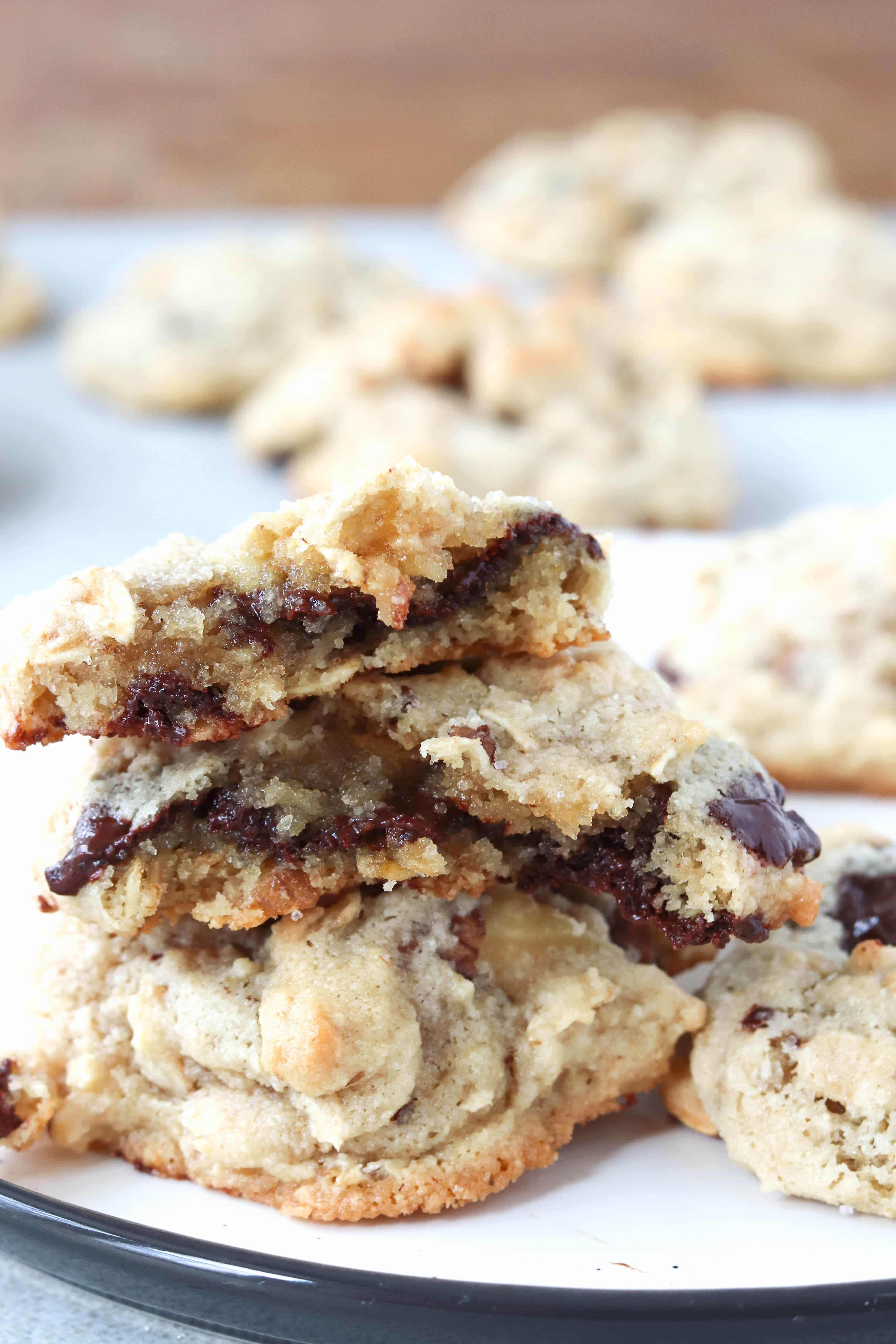 oatmeal chocolate chip cookies stacked on top on one another
