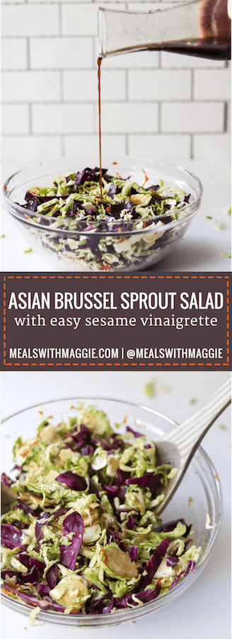 Try a lightened up version of a classic stir-fry dish with this an asian brussel sprout salad recipe. | Mealswithmaggie.com