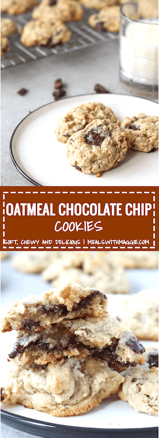 These oatmeal chocolate chip cookies are soft, chewy and melt-in-your-mouth. Made with almond flour, these cookies make for a healthier option to white flour | Mealswithmaggie.com #oatmealchocolatechipcookies #almondflourcookies #chocolatechipcookies