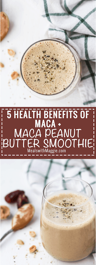 This Maca peanut butter smoothie is the perfect pairing of sweet and savory. Maca helps improve your mood, physical endurance, skin, memory and provides lasting energy. This smoothie is the perfect way to start your day | Mealswithmaggie.com #smoothieideas #smoothie #maca #macahealthbenefits #peanutbuttersmoothie