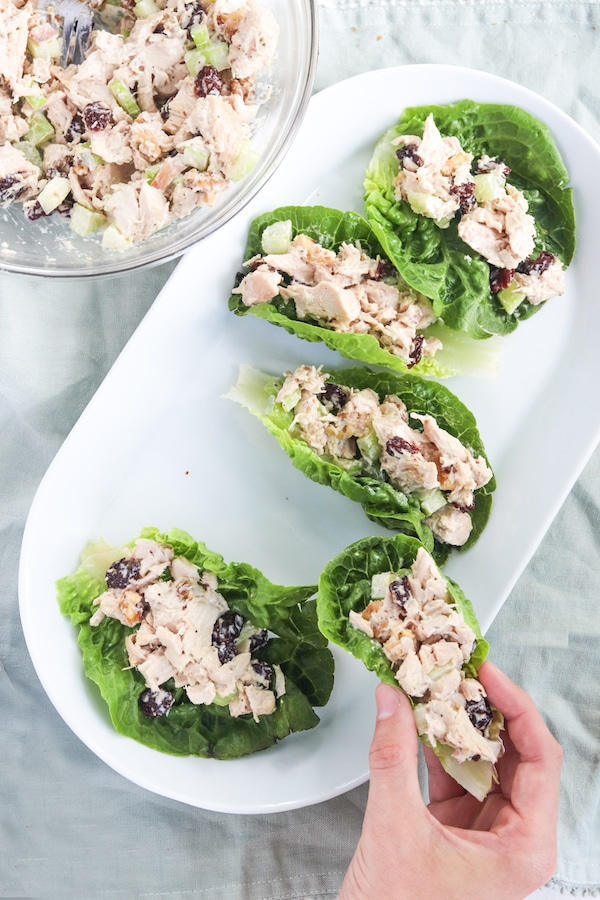 Chicken salad on a plate with lettuce.