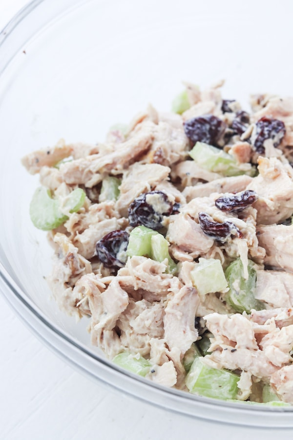 Chicken salad mixed up in a bowl.