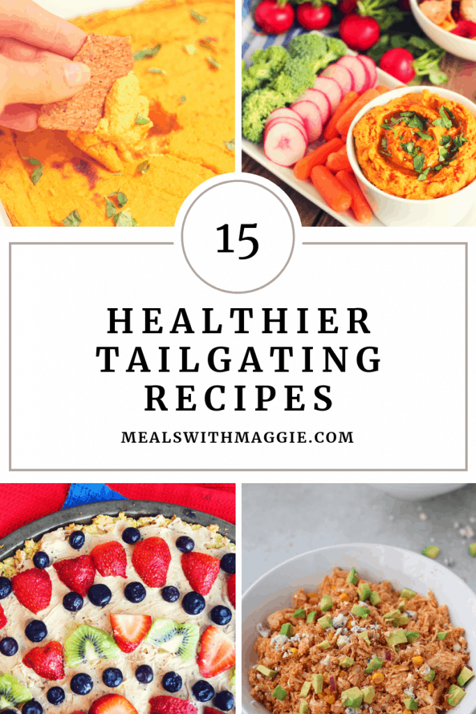 15 healthier tailgating recipes that are easier to prep, make and transport to your tailgating festivities. | Mealswithmaggie.com #healthytailgate #healthygameday #healthiergamedayrecipes #healthytailgatecasseroles